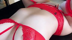 Sexy Neringa Kriziute in red Lingerie
