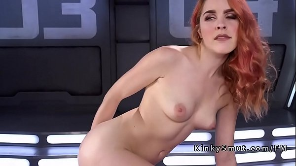 Hairy redhead squirts with help of fucking machine