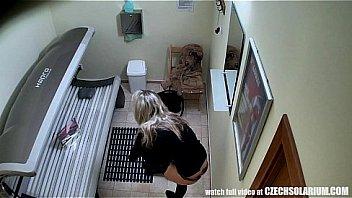 Blonde Girl Caught in Solarium