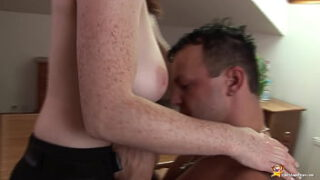 Shy redhead fucked between big Boobs and Pink Pussy